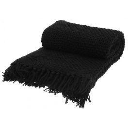 Home collection Bavlněný tkaný pléd s třásněmi 130x160 cm Black - černá