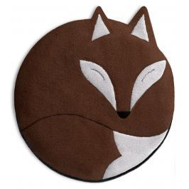 Leschi Hřející polštářek liška Luca 25x25cm hnědá/černá Dekorační polštáře