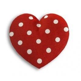 Leschi Hřející polštářek srdíčko malé 14x14cm červená s puntíky Dekorační polštáře