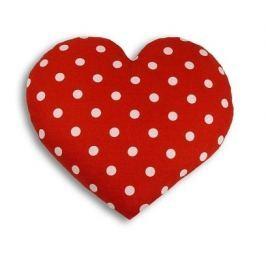 Leschi Hřející polštářek srdíčko velké 22x22cm červená s puntíky Dekorační polštáře
