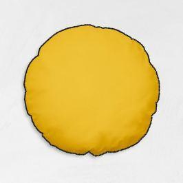 TODAY GOA kulatý polštář s bambulkami 40 cm žlutá/černá