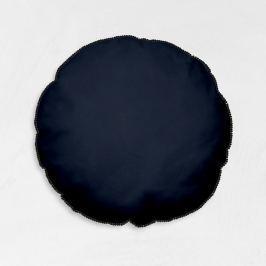TODAY GOA kulatý polštář s bambulkami 40 cm tmavě modrá/černá