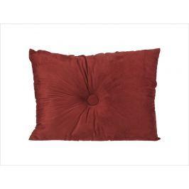 Home collection Semišový polštářek s knoflíkem 60x45 cm vínová