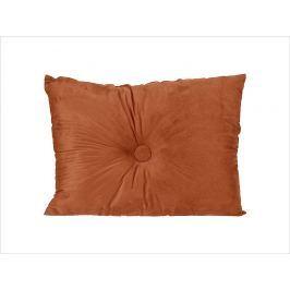 Home collection Semišový polštářek s knoflíkem 60x45 cm skořicová Dekorační polštáře
