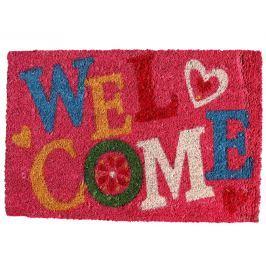 Home collection Barevná kokosová rohožka Welcome 40x60 cm růžová