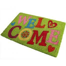 Home collection Barevná kokosová rohožka Welcome 40x60 cm zelená