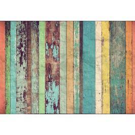 Wizard+Genius W+G vliesová fototapeta Barevná dřevěná stěna 366x254 cm
