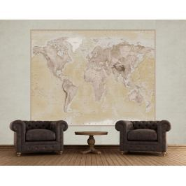 1Wall 1Wall fototapeta Geografická mapa světa 158x232 cm Tapety