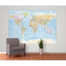 1Wall 1Wall fototapeta Politická mapa světa modrá 158x232 cm