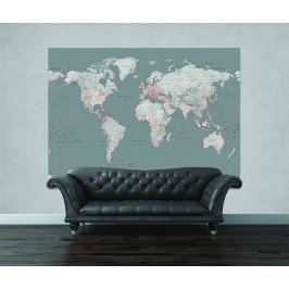1Wall 1Wall fototapeta Stříbrná mapa 158x232 cm Tapety