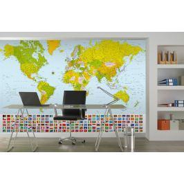 Wizard+Genius W+G fototapeta Mapa světa s vlajkami 366x254 cm