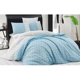 Homeville Povlečení 100% bavlna Blue geometrics se dvěma povlaky na polštář - 140x200 / 50x70+70x90