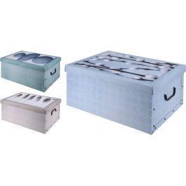 Home collection Úložné krabice s potiskem víka Nature 49x39x24 cm - Kočičky - modrá