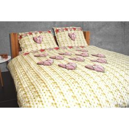 Gipetex Natural Dream 3D italské povlečení 100% bavlna Srdíčka, digitální tisk - 140x200cm / 70x90cm Ložní povlečení