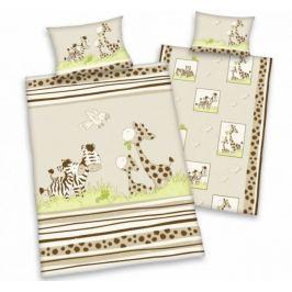 Herding Herding povlečení pro miminka zebra&žirafa 135x100,40x60 Ložní povlečení