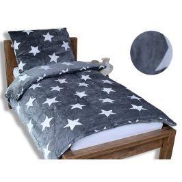 Homeville Homeville povlečení mikroplyš bílé hvězdičky/šedá 140x200/70x90 cm