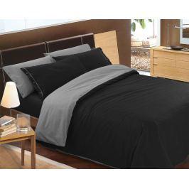 Gipetex Natural Dream Italské povlečení 100% bavlna LUX Doubleface černá-šedá - 140x200cm / 70x90cm