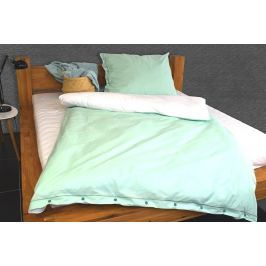 Gipetex Natural Dream Italské povlečení 100% bavlna LUX Doubleface mátová/bílá - 140x220cm / 70x90cm