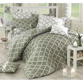Homeville Povlečení 100% bavlna Claire khaki/bílá se dvěma povlaky na polštář - 220x200 / 2x50x70 + 2x70x90 Ložní povlečení