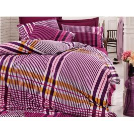 Homeville Povlečení 100% bavlna Emma fialková káro se dvěma povlaky na polštář - 140x200 / 50x70 + 70x90