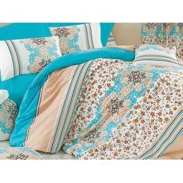 Homeville Povlečení 100% bavlna Leila tyrkysová se dvěma povlaky na polštář - 140x220 / 50x70 + 70x90 Ložní povlečení