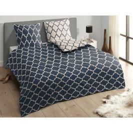 Descanso Luxusní saténové povlečení DESCANSO 9278 Lory tm.modrá - 140x200-220 / 60x70 cm
