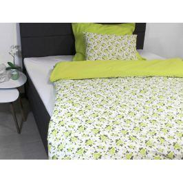 Homeville Povlečení 100% bavlna Romance limetková se dvěma povlaky na polštář - 220x200 / 2x50x70 + 2x70x90