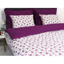 Homeville Povlečení 100% bavlna Romance fialová se dvěma povlaky na polštář - 220x200 / 2x50x70 + 2x70x90