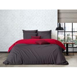 Mistral home Mistral Home povlečení bavlněný perkál Doubleface antracitová/červená 140x200/70x90cm