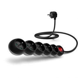 CONNECT IT prodlužovací 230V, 5 zásuvek + vypínač, 2m, černý