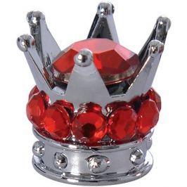 OXFORD kovové čepičky ventilků Crown, (stříbrná/červená)