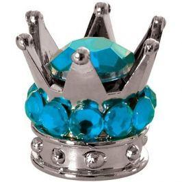 OXFORD kovové čepičky ventilků Crown, (stříbrná/modrá)