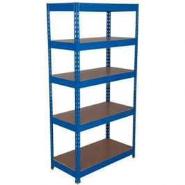 MANUTAN Basic, 176 x 900 x 30 cm, 175 kg/police, 5 dřevotřískových polic, modrý