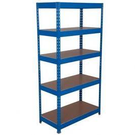 MANUTAN Basic, 176 x 900 x 45 cm, 175 kg/police, 5 dřevotřískových polic, modrý