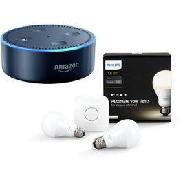 Philips Hue White 8.5W E27 starter kit + Amazon Echo Dot černý (2.generace)