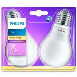 Philips LED Classic 8.5-75W, E27, 2700K, Mléčná, set 2ks