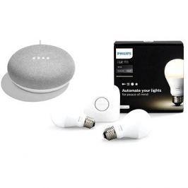 Philips Hue White 8.5W E27 starter kit + Google Home Mini Chalk