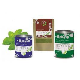 Moringa MIX Dárkové balení Bylinná směs moringy s mátou 100 g + Moringa s oregánem 30 g + Moringa oleifera 180 kapslí