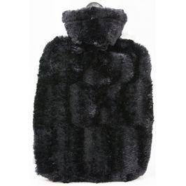 Hugo-Frosch Termofor Classic s obalem z umělé kožešiny - černý s podšívkou