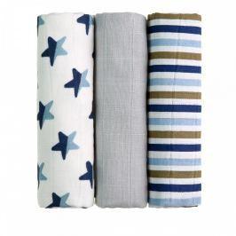 T-tomi Látkové TETRA pleny 70 x 70 cm 3 ks Blue stars / modré hvězdičky