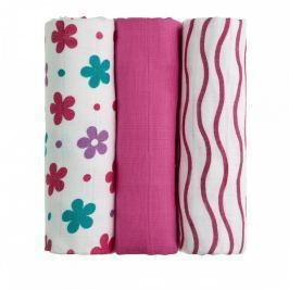 T-tomi Látkové TETRA pleny 70 x 70 cm 3 ks Pink flowers / růžové květiny