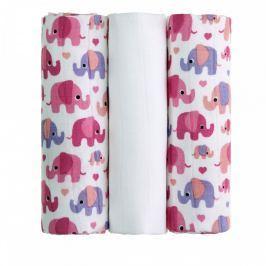 T-tomi BIO Bambusové pleny 70 x 70 cm 3 ks Pink elephants / růžoví sloni