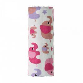 T-tomi BIO Bambusová osuška s potiskem 90 x 100 cm Pink elephants / růžoví sloni