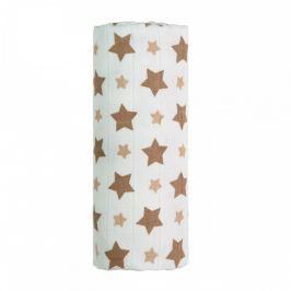 T-tomi BIO Bambusová osuška s potiskem 90 x 100 cm Beige stars / béžové hvězdičky