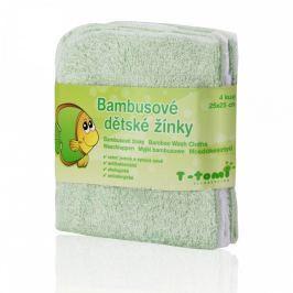 T-tomi Bambusové koupací žínky 25 x 25 cm 4 ks Green / zelená