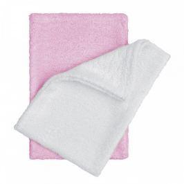 T-tomi Bambusové koupací žínky rukavice 14 x 20 cm 2 ks white+pink / bílá + růžová