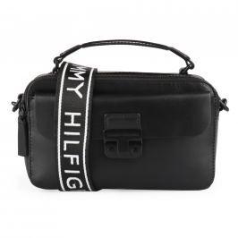 Tommy Hilfiger Dámská kožená crossbody kabelka Fashion Hardware AW0AW05833 - černá