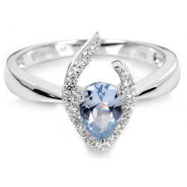 Silver Cat Stříbrný prsten s modrým krystalem SC115 60 mm