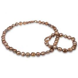 JwL Luxury Pearls Souprava náhrdelníku a náramku z pravých zlatohnědých perel JL0163