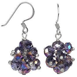 JwL Luxury Pearls Zářivé náušnice z broušených fialových krystalů JL0269